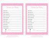 Wishes for Baby Cards - Printable Download - Pink Polka Baby Shower Activity - B23001