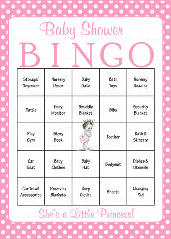 Princess Baby Bingo Cards - Printable Download - Prefilled - Baby Shower Game for Girl - Pink Polka