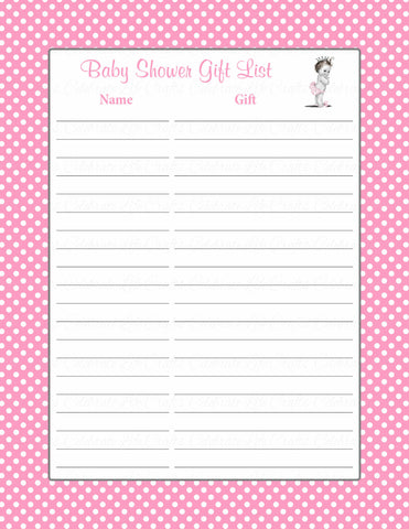 Baby Shower Gift List Set - Printable Download - Pink Polka Baby Shower Decorations - B23001