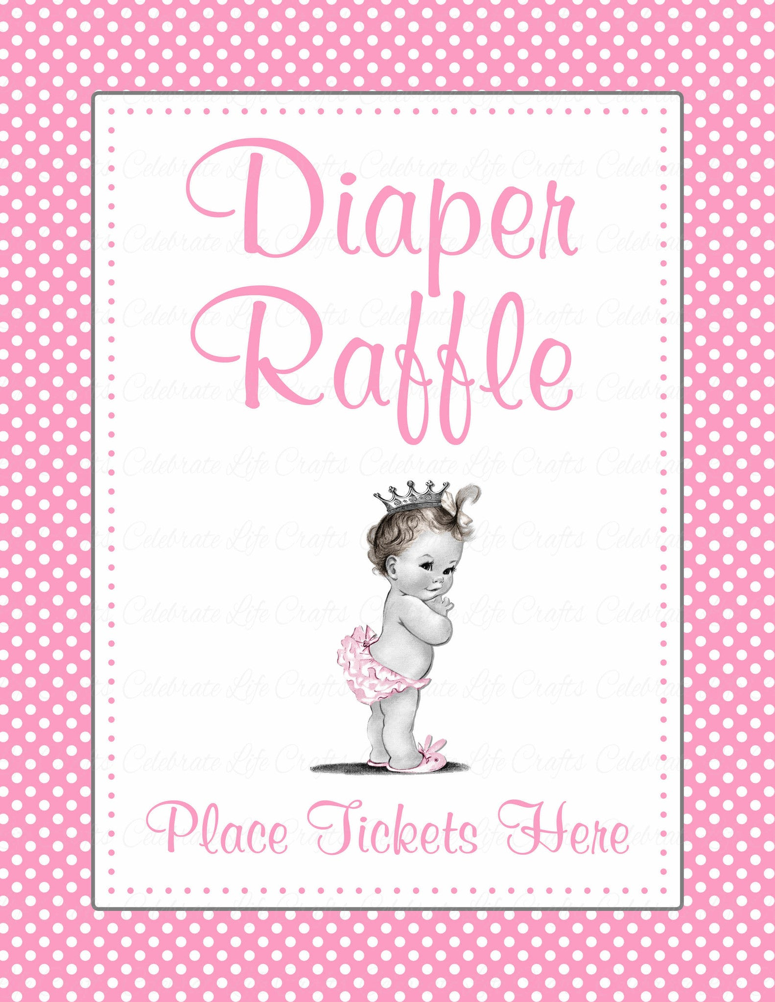Diaper Raffle Tickets   Printable Download   Pink Polka Baby Shower  Invitation Inserts   B23001.