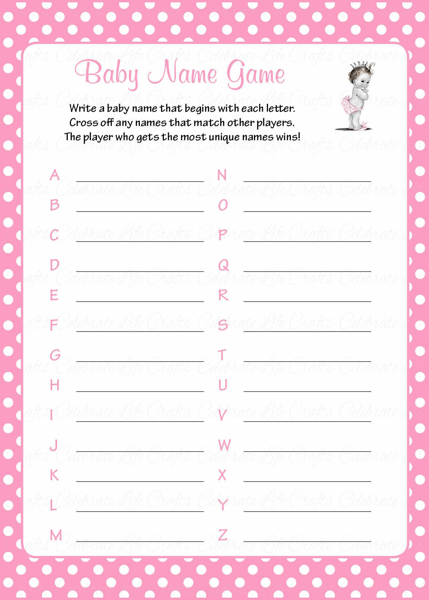 Baby Name Baby Shower Game Princess Baby Shower Theme