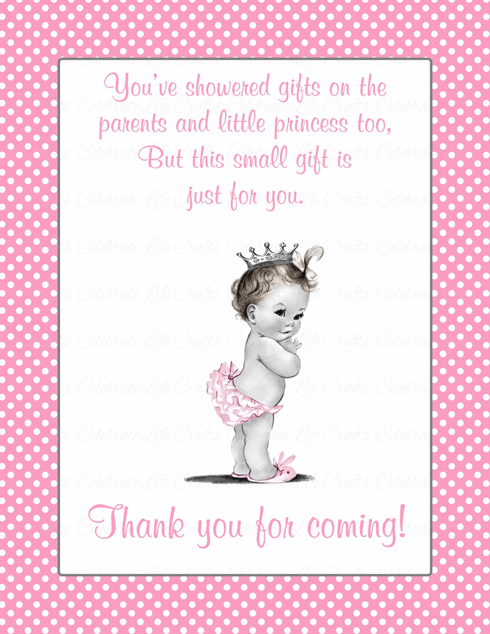 image relating to Printable Baby Shower named Thank Yourself Choose Signal - Printable Obtain - Purple Polka Little one Shower Decorations - B23001