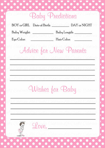 Prediction & Advice Cards - Printable Download - Pink Polka Baby Shower Activity - B23001