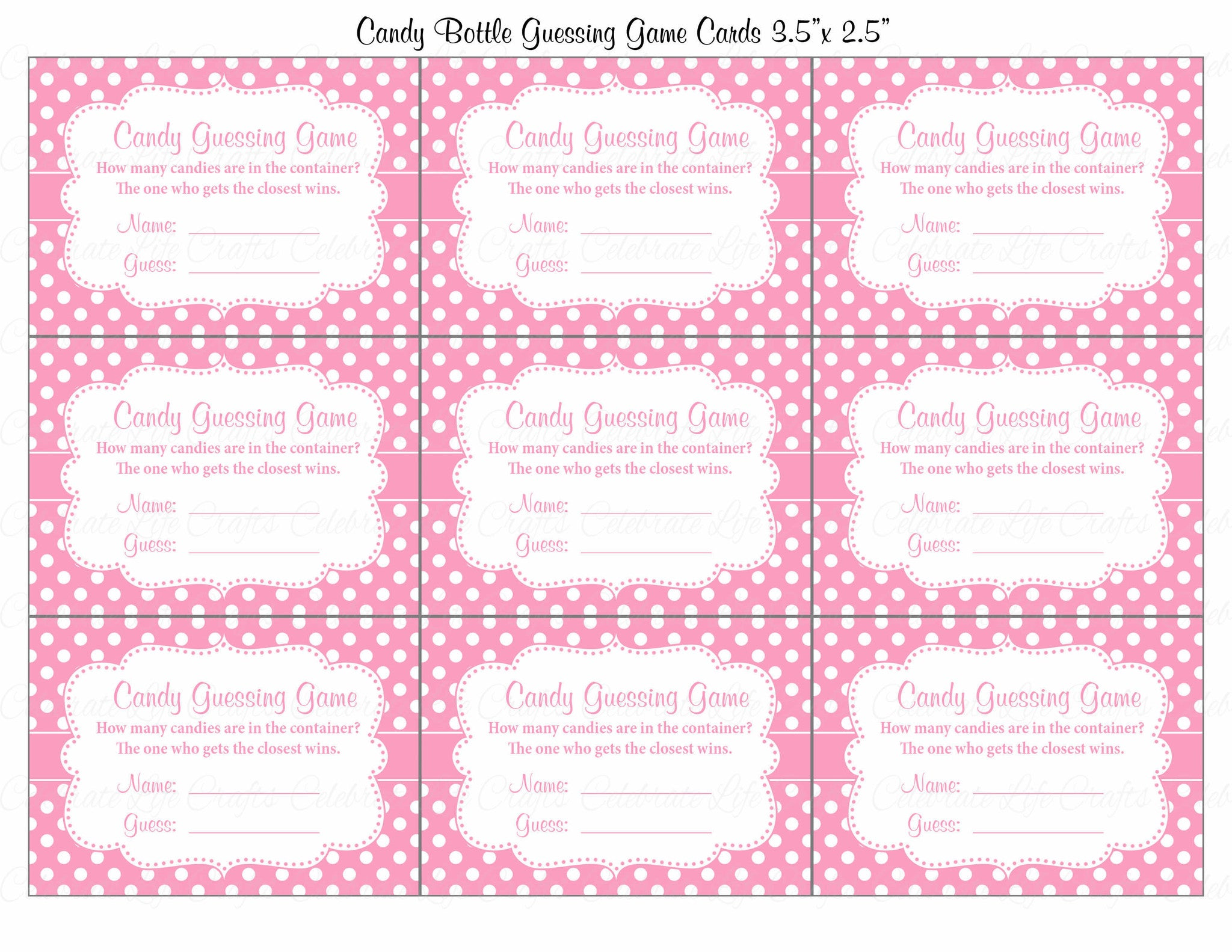 Perfect ... Candy Guessing Game   Printable Download   Pink Polka Baby Shower Game    B23001