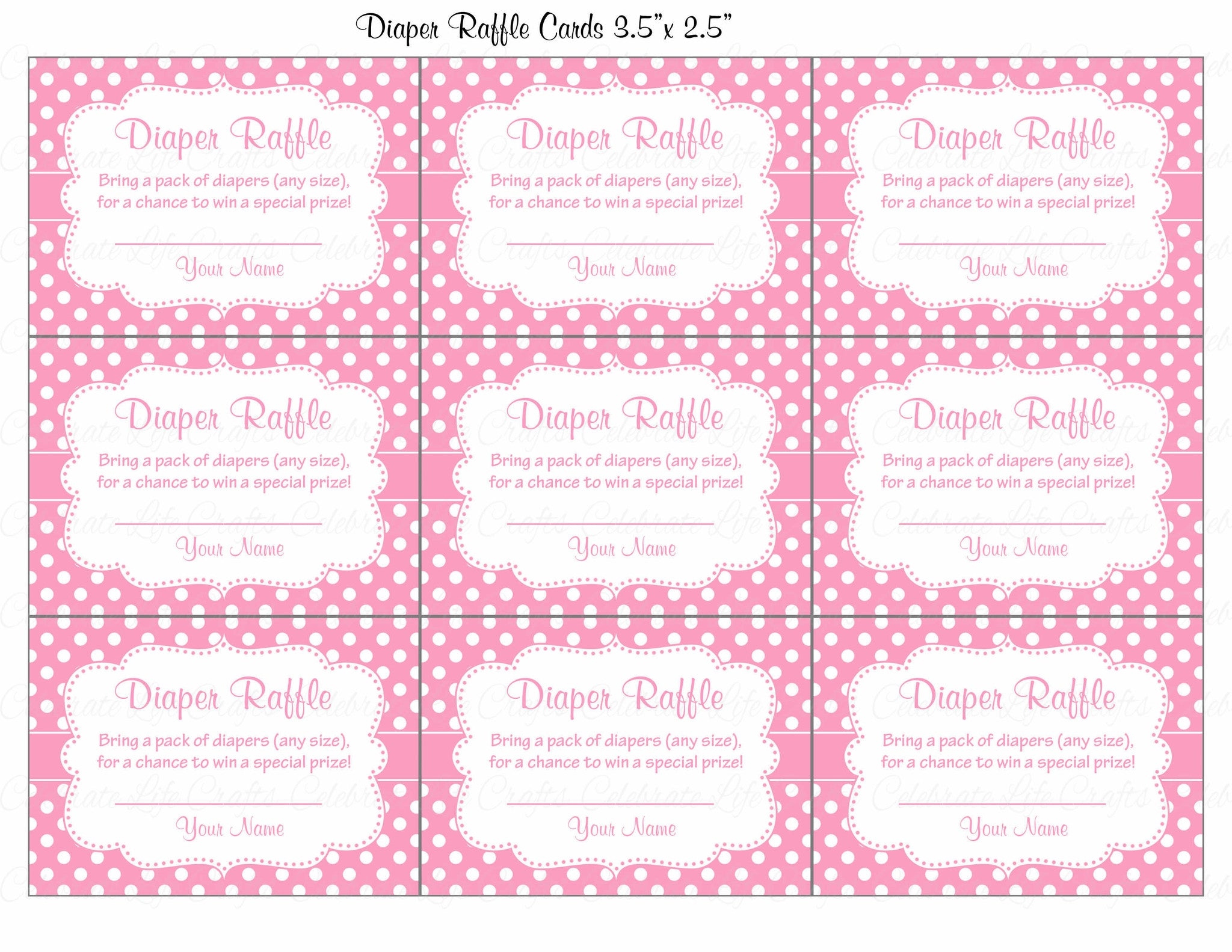 Diaper Raffle Tickets Printable Download Pink Polka Baby Shower Invitation Inserts B23001
