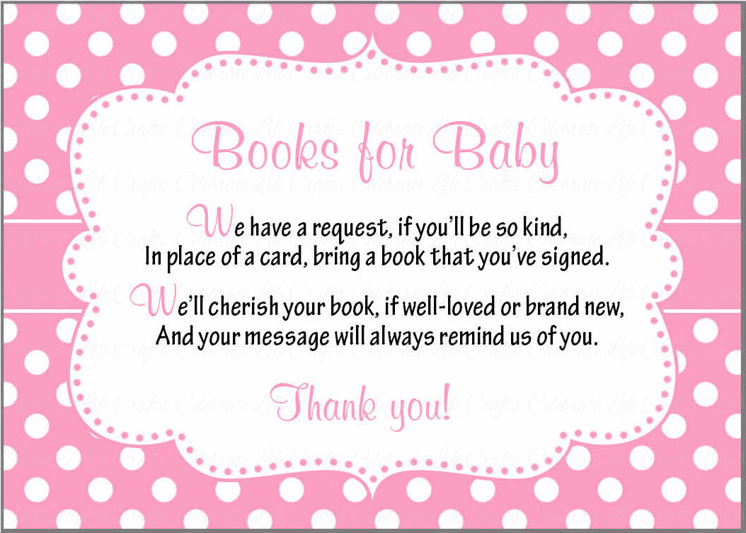 Books For Baby Cards Printable Download Pink Polka Baby Shower Invitation Inserts Pink Polka B23001
