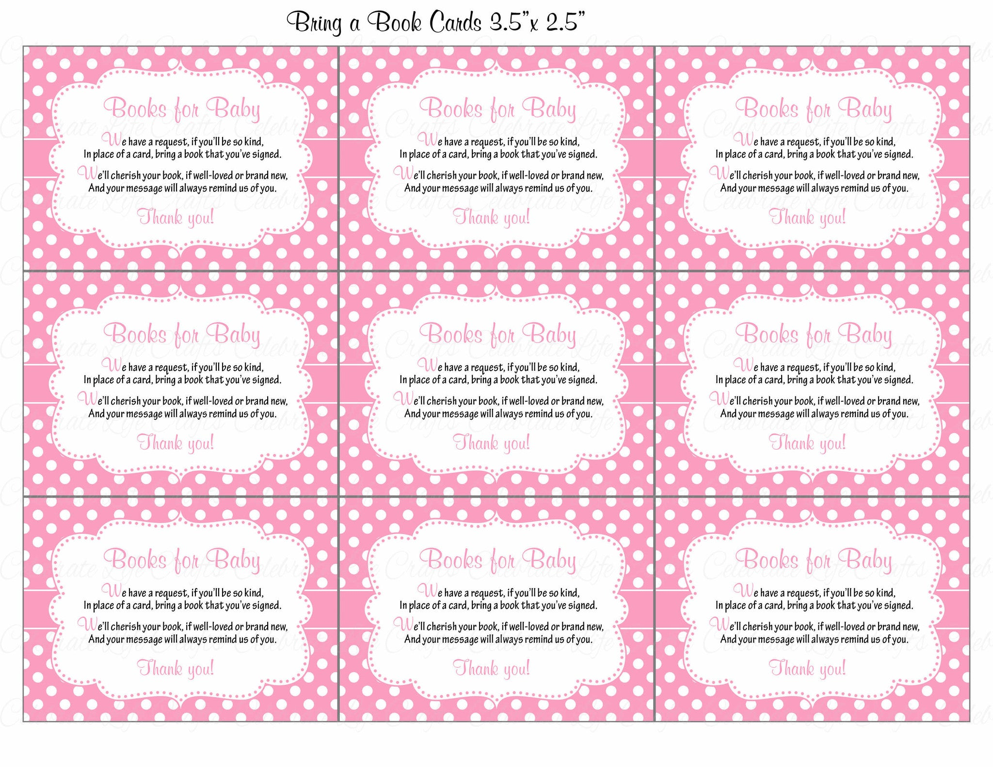 ... Books For Baby Cards   Printable Download   Pink Polka Baby Shower  Invitation Inserts   Pink