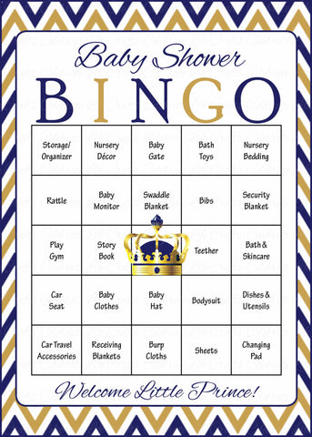 Prince Baby Bingo Cards - Printable Download - Prefilled - Baby Shower Game for Boy - Navy & Gold
