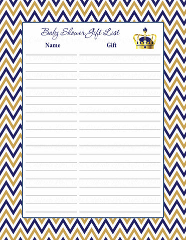 Baby Shower Gift List Set - Printable Download - Navy & Gold Baby Shower Decorations - B23004
