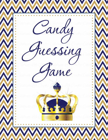 Candy Guessing Game - Printable Download - Navy & Gold Baby Shower Game - B23004