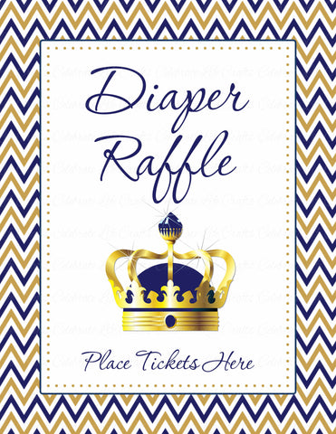 Diaper Raffle Tickets - Printable Download - Navy & Gold Baby Shower Invitation Inserts - B23004