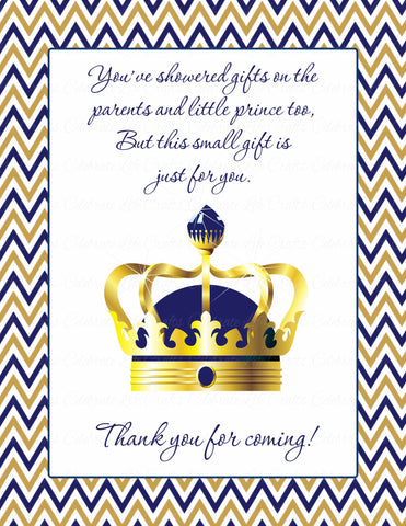 Thank You Favor Sign - Printable Download - Navy & Gold Baby Shower Decorations - B23004