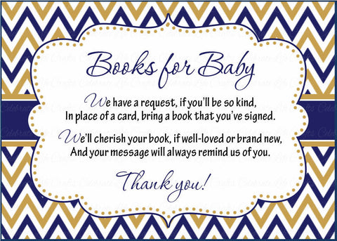 Books for Baby Cards - Printable Download - Navy & Gold Baby Shower Invitation Inserts - Navy & Gold - B23004