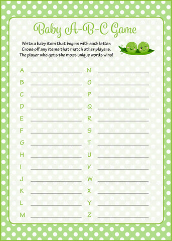 Baby ABC Game - PRINTABLE DOWNLOAD - Boy Twins - Peas in a Pod Baby Shower Game - B29001