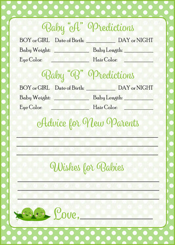 Prediction & Advice Cards - PRINTABLE DOWNLOAD - Boy Twins - Peas in a Pod Baby Shower Activity - B29001