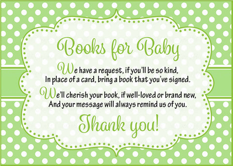 Books for Baby Cards - PRINTABLE DOWNLOAD - Boy Twins - Peas in a Pod Baby Shower Invitation Inserts - B29001