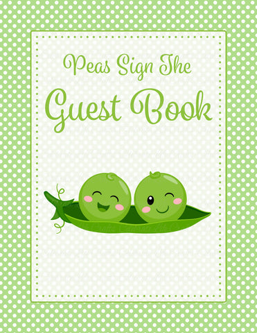 Baby Shower Guest List Set - PRINTABLE DOWNLOAD - Boy Twins - Peas in a Pod Baby Shower Decorations - B29001