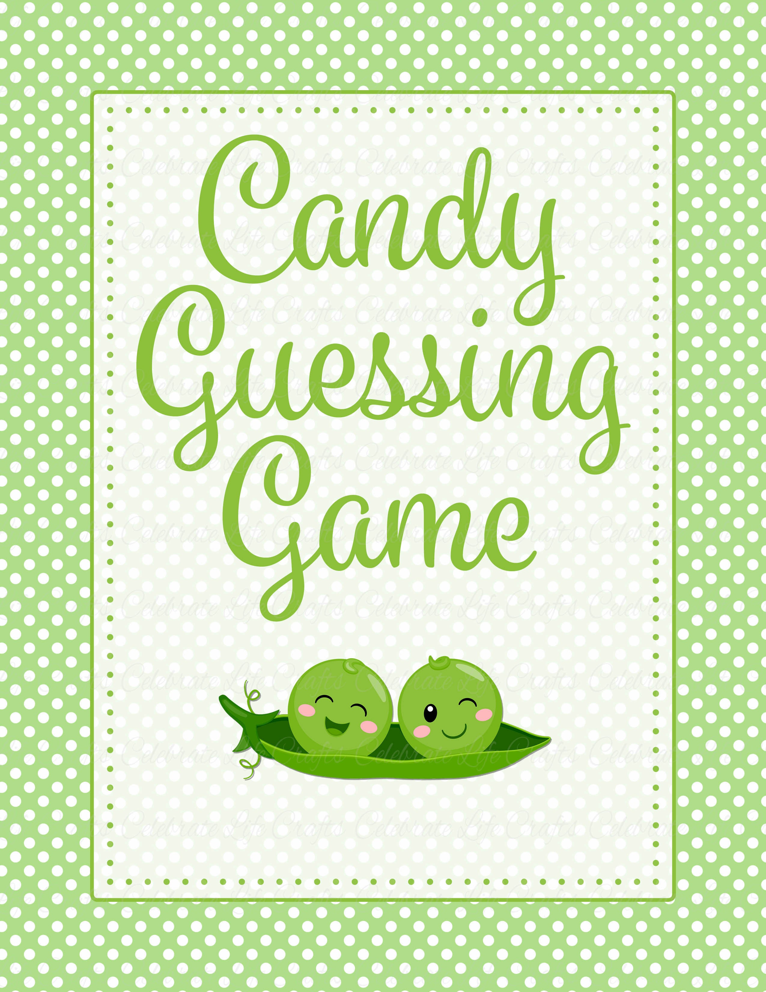 Candy Guessing Game   PRINTABLE DOWNLOAD   Boy Twins   Peas In A Pod Baby  Shower Game   B29001.