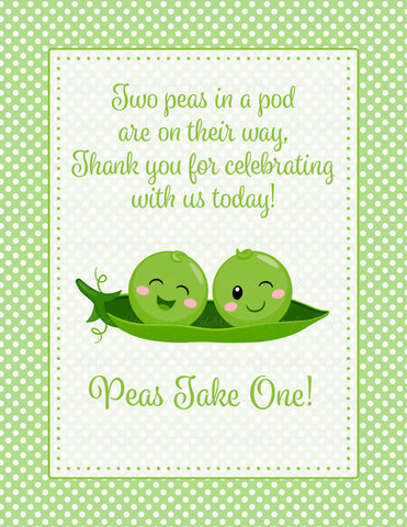 Thank You Favor Sign - PRINTABLE DOWNLOAD - Boy Twins - Peas in a Pod Baby Shower Decorations - B29001