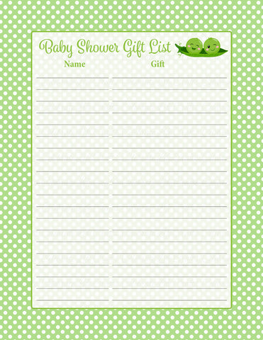 Baby Shower Gift List Set - PRINTABLE DOWNLOAD - Boy Twins - Peas in a Pod Baby Shower Decorations - B29001