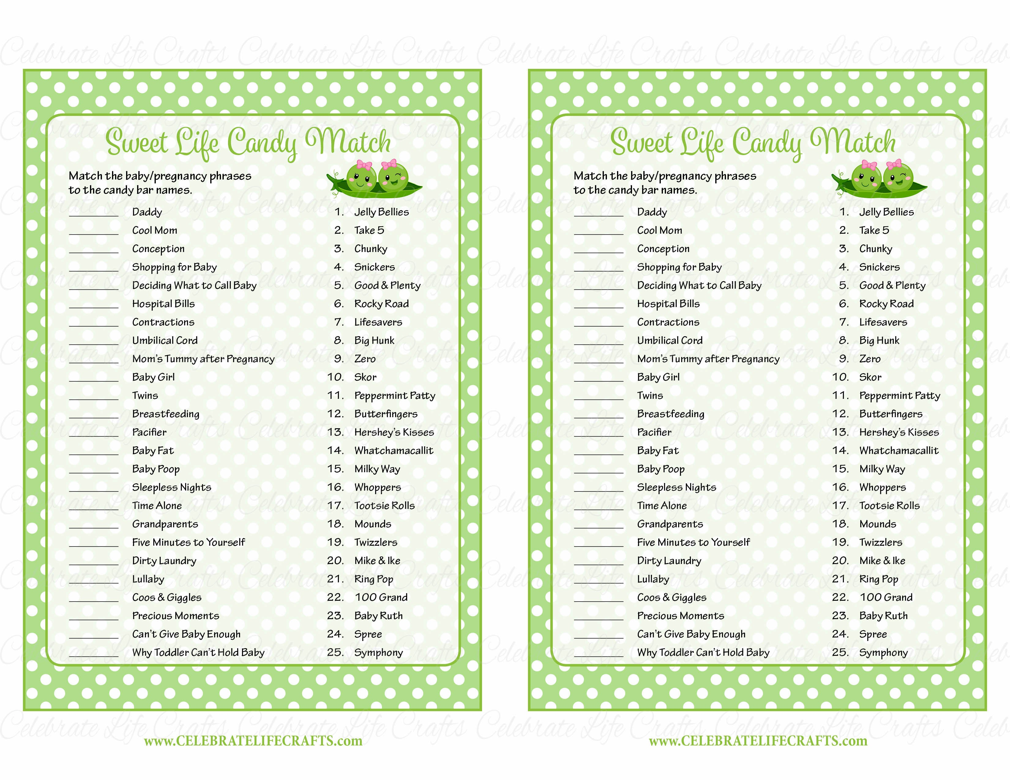 Sweet Life Candy Match Baby Shower Game - Peas In A Pod -2255