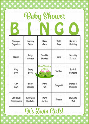 Peas in a Pod Baby Bingo Cards - PRINTABLE DOWNLOAD - Prefilled - Baby Shower Game for Girl Twins - B29002