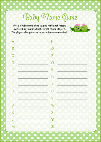 Baby Name Game - PRINTABLE DOWNLOAD - Girl Twins - Peas in a Pod Baby Shower Game - B29002