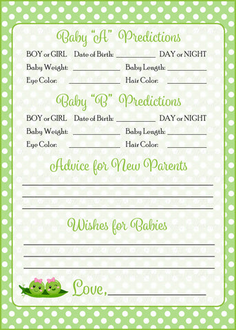 Prediction & Advice Cards - PRINTABLE DOWNLOAD - Girl Twins - Peas in a Pod Baby Shower Activity - B29002