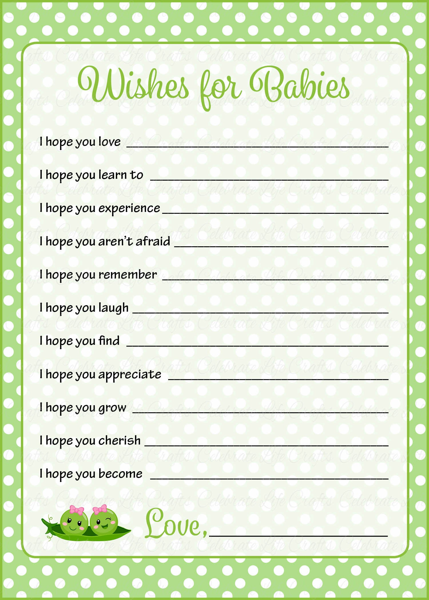 Wishes For Baby Shower Activity - Peas In A Pod Baby -7321