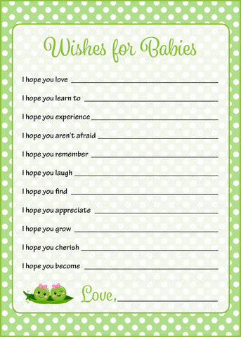 Wishes for Baby Cards - PRINTABLE DOWNLOAD - Girl Twins - Peas in a Pod Baby Shower Activity - B29002