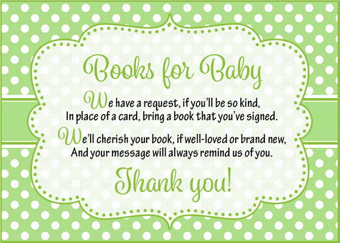 Books for Baby Cards - PRINTABLE DOWNLOAD - Girl Twins - Peas in a Pod Baby Shower Invitation Inserts - B29002