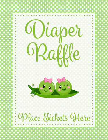 Diaper Raffle Tickets - PRINTABLE DOWNLOAD - Girl Twins - Peas in a Pod Baby Shower Invitation Inserts - B29002