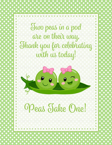 Thank You Favor Sign - PRINTABLE DOWNLOAD - Girl Twins - Peas in a Pod Baby Shower Decorations - B29002