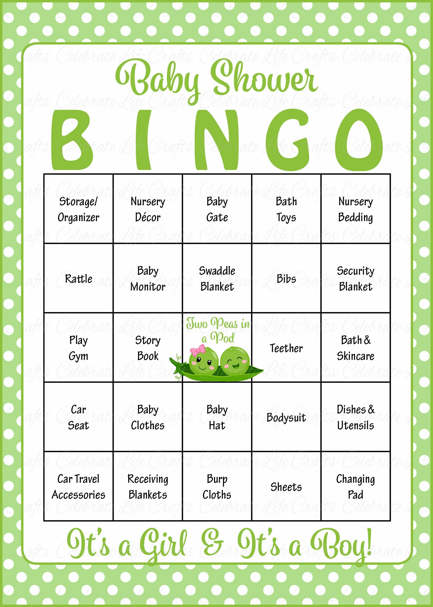 Peas In A Pod Baby Bingo Cards   PRINTABLE DOWNLOAD   Prefilled   Baby  Shower Game For Boy Girl Twins   B29003.