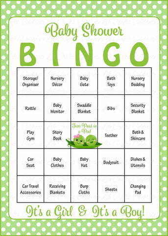 Peas in a Pod Baby Bingo Cards - PRINTABLE DOWNLOAD - Prefilled - Baby Shower Game for Boy Girl Twins - B29003