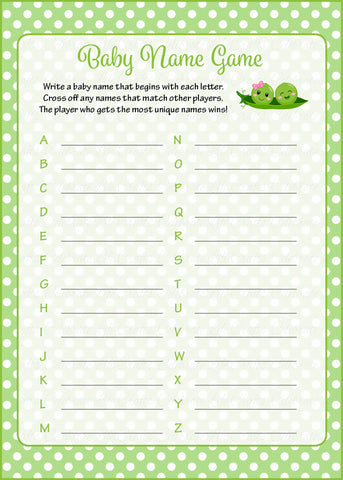 Baby Name Game - PRINTABLE DOWNLOAD - Boy Girl Twins - Peas in a Pod Baby Shower Game - B29003