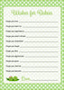 Wishes for Baby Cards - PRINTABLE DOWNLOAD - Boy Girl Twins - Peas in a Pod Baby Shower Activity - B29003