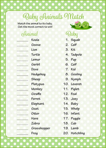 Baby Animals Match Game - PRINTABLE DOWNLOAD - Boy Girl Twins - Peas in a Pod Baby Shower Game - B29003
