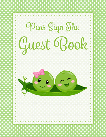 Baby Shower Guest List Set - PRINTABLE DOWNLOAD - Boy Girl Twins - Peas in a Pod Baby Shower Decorations - B29003