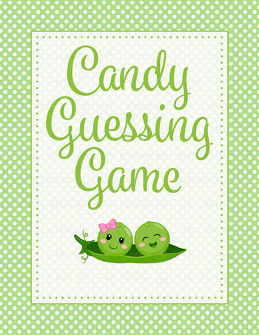 Candy Guessing Game - PRINTABLE DOWNLOAD - Boy Girl Twins - Peas in a Pod Baby Shower Game - B29003