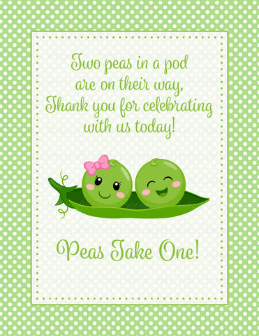 Thank You Favor Sign For Baby Shower Peas In A Pod Baby Shower