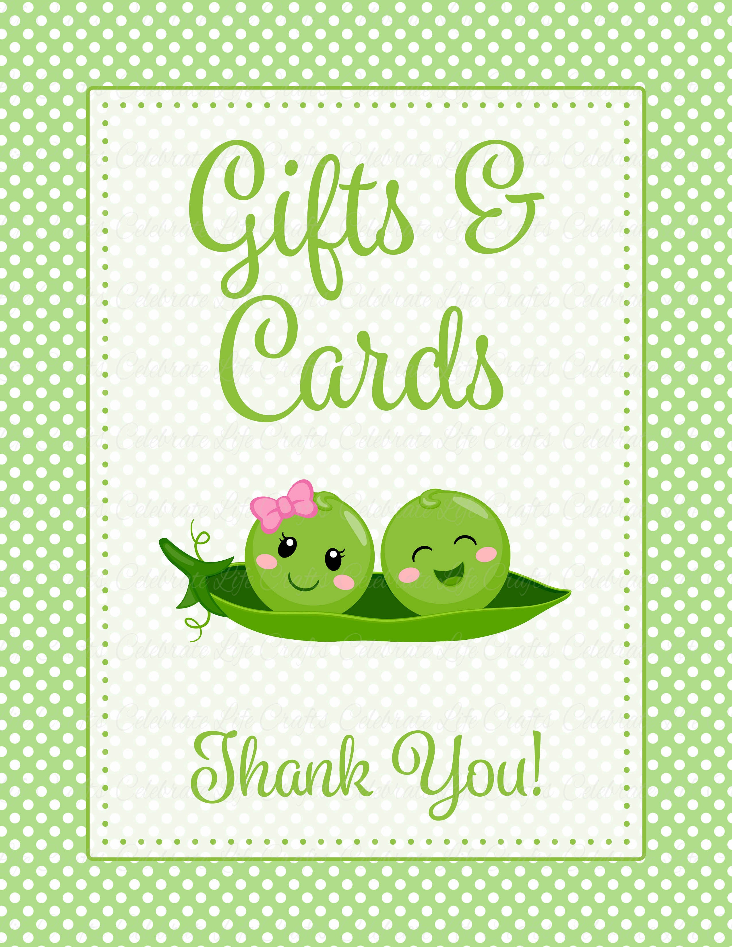 Baby Shower Gift List - Peas In A Pod Baby Shower Theme -2221
