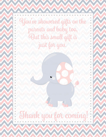 Thank You Favor Sign Printable Download Pink Gray Baby Shower Decorations B3001