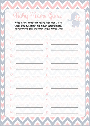 Elephant Baby Shower Baby Name Game