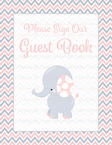 Elephant Baby Shower Guest Book Sign