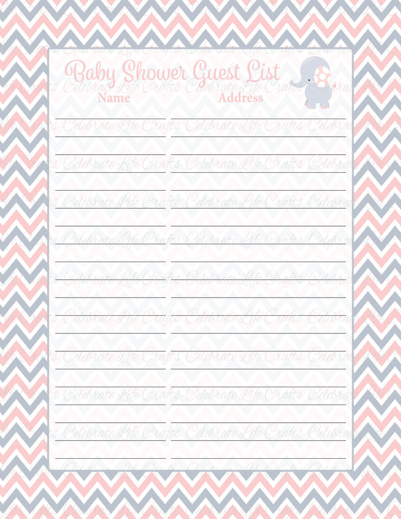 Elephant Baby Shower Guest Book List