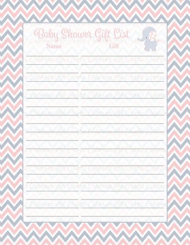 Elephant Baby Shower Gift List