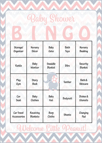 graphic regarding Bingo Chips Printable identified as Elephant Little one Shower - Youngster Bingo Playing cards - Printable Obtain - Boy or girl Shower Activity for Lady - Purple Grey B3001