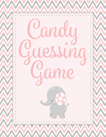 Candy Guessing Game - Printable Download - Pink & Gray Baby Shower Game - B3001