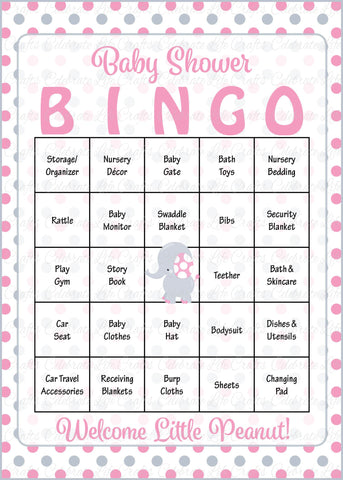 Elephant Baby Shower Bingo Cards